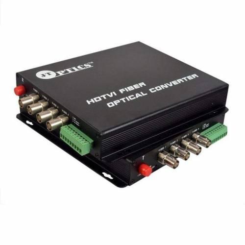 4 CH HDTVI VIDEO AND RS485 RETURN DATA TO SINGLE MODE FIBER CONVERTER UPTO 20KM