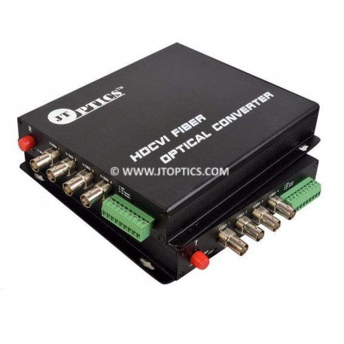 4 Channel hdcvi 1080p cctv video and rs485 ptz data to single mode fiber optical media converter 20km - Pair