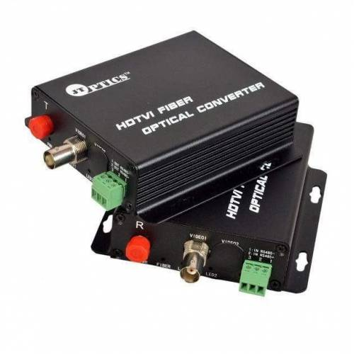 1 channel hd-tvi 720p cctv video optical fiber transmitter and receiver with rs485 ptz over single mode ofc, fc, 20km pair