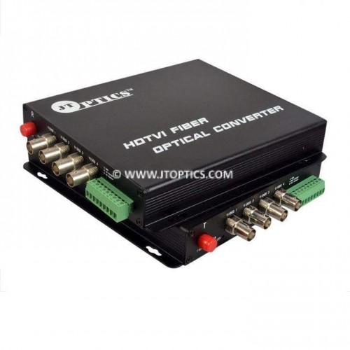 4 Channel hdtvi 1080p cctv video and rs485 ptz data to single mode fiber optical media converter 20km - Pair