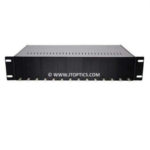 Media converter chassis 14 slots 19'' rack mountable with dual power supply unmanaged
