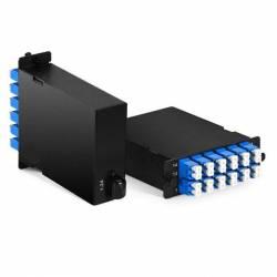 24f Mpo Lc Sm Hd Cassette Box For High Density Odf Enclosure,24 Fiber Mpo Male to 12 x Lc Duplex Single Mode Fiber Optic Plug-N-Play Cassette, Type A