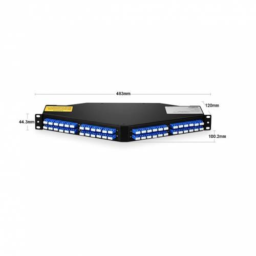 96 fiber 1u angled hd odf / patch panel fixed loaded with 8 nos sm 12f mpo lc breakout cables fully loaded