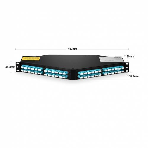 96 Fiber 1U Angled High Density Odf Patch Panel Loaded With 8 Nos Mm Om3 12 Fiber Mpo Lc Breakout Cables JTMPFDAF96-M312MOSFLCP High Density LIU