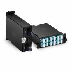 Mpo Lc Mm Hd Cassette Box For High Density Odf Enclosure,2 x 12 Fiber Mpo Male to 12 x Lc Duplex Multiode Fiber Optic Plug-N-Play Cassette, Type B