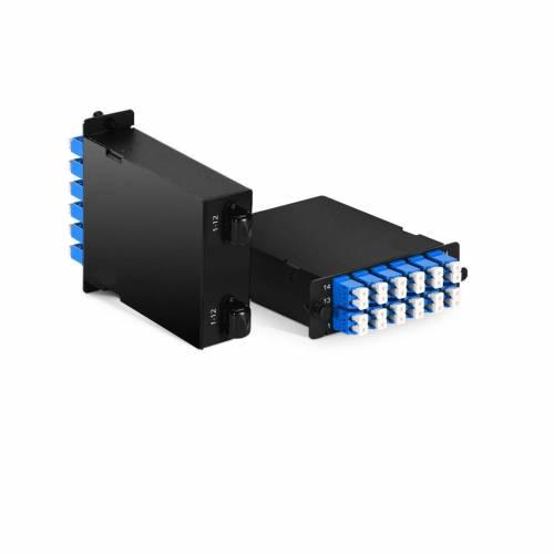 Mpo Lc Sm Hd Cassette Box For High Density Odf Enclosure,2 x 12 Fiber Mpo Male to 12 x Lc Duplex Single Mode Fiber Optic Plug-N-Play Cassette, Type B JTMPM212MOSMLCPB2 High Density LIU