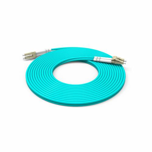 Lc pc lc pc multimode om3 duplex OFNP Plenum 2mm aqua color optical fiber patch cable Premium