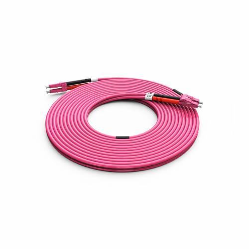 High Quality Lc Lc Om4 Mm Dx Ofc Patch Cord, Lc Pc Lc Pc Multimode Om4 Duplex OFNP Plenum 2mm Pink Color Optical Fiber Patch Cable JTPCLCPLCPOM4DXPVXX Premium Patch Cables