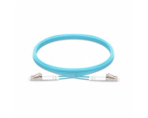 Lc pc lc pc multimode om3 duplex pvc 2mm aqua color optical fiber patch cable