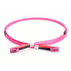 Lc Lc Om4 Mm Dx Ofc Patch Cord, Lc Pc Lc Pc Multimode Om4 Duplex OFNP Plenum 2Mm Pink Color Optical Fiber Premium Quality Patch Cable